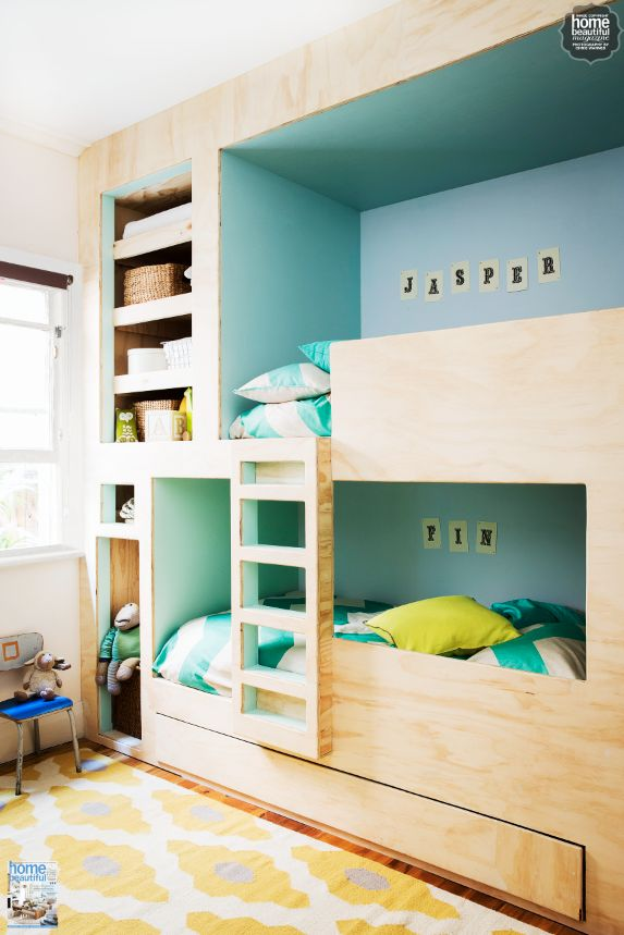 Custom Built Bunk Beds Are Perfect For A Boys Room We Love The Combination Of Light Timber And Bright Walls Kids E Pinterest