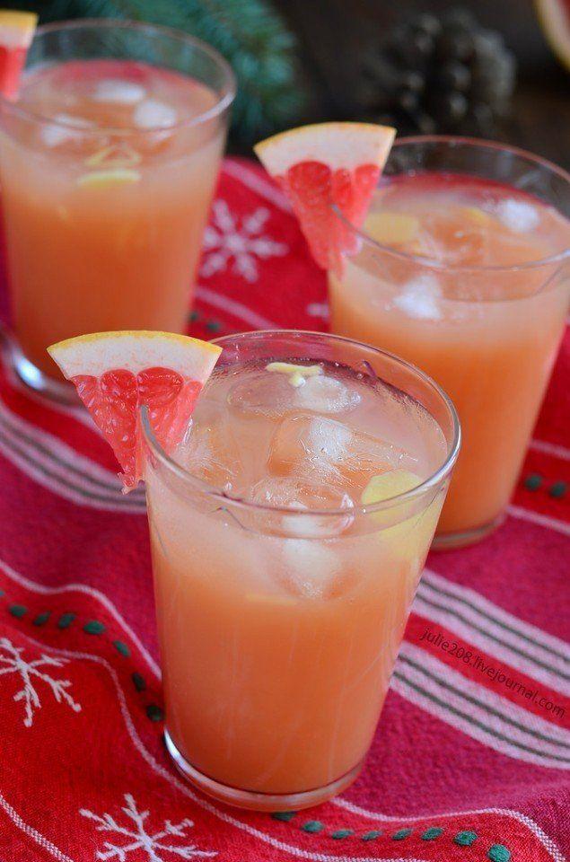 Грейпфрутовый пунш  Ингредиенты:  1 часть текилы 3 части грейпфрутового сока Имбирь Лед  Приготовление:  Смешать текилу и грейпфрутовый сок. Добавить немного мелко нарезанного имбиря и лед. Украсить бокал кусочком грейпфрута.