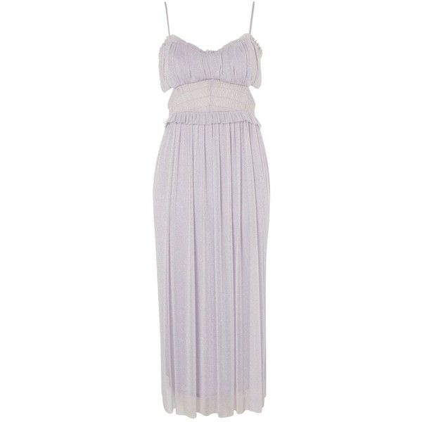 Topshop Petite Cut Out Tulle Midi Dress (€11) ❤ liked on Polyvore featuring dresses, topshop, grey, formal cocktail dresses, cutout dresses, formal midi dress, petite cocktail dress and formal dresses
