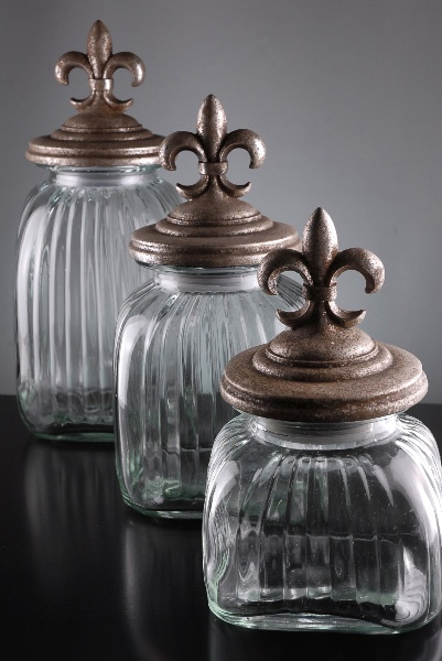 Fleur De Lis Canisters. Set Of Three $39.00