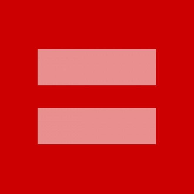 Un quadrato rosso con due linee orizzontali color rosa, il simbolo matematico dell'uguale, è diventato virale online dopo che decine di milioni di persone lo hanno usato su siti di social networking per esprimere il proprio sostegno ai matrimoni gay. Si tratta di una versione modificata del l
