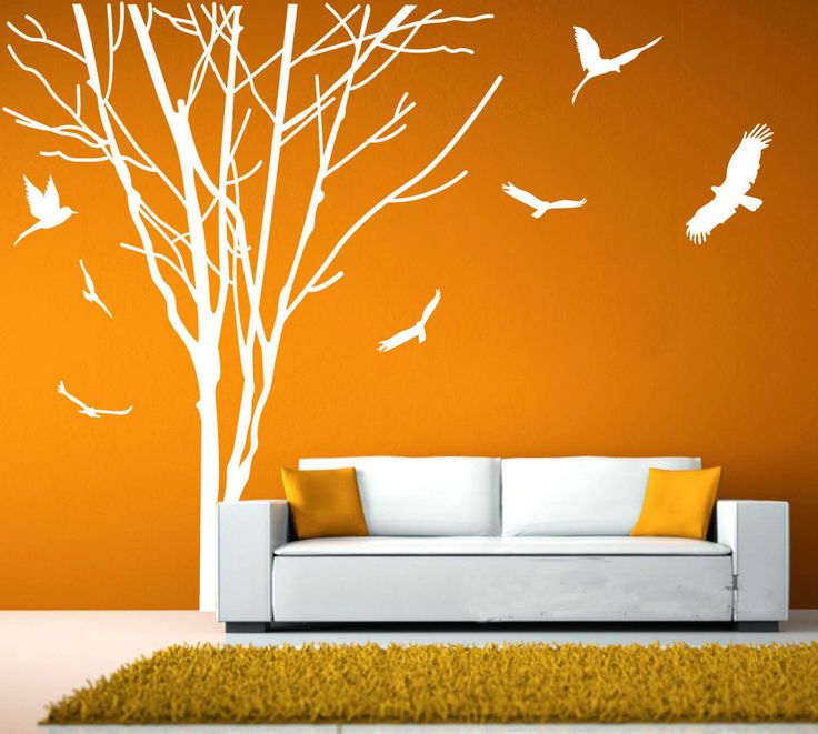 Winter Tree Wall White Tree Wall Decals Tree Bird