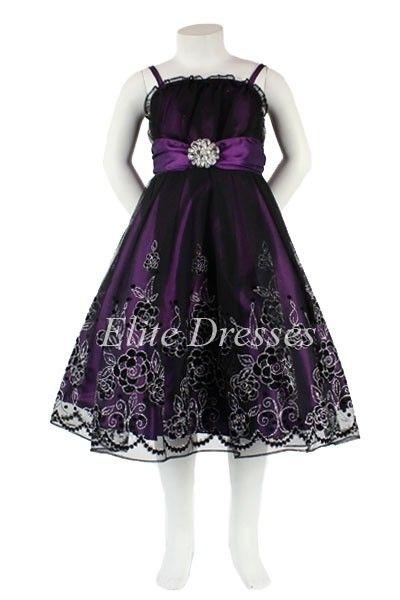 Girls Purple Dress with Black Sheer Overlay and Matching Shawl