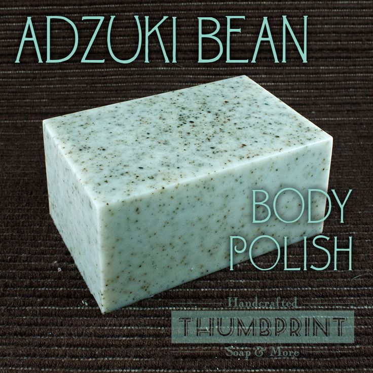 Learn how to make this fun, homemade melt and pour soap recipe for making a Adzuki Bean Body Polish Soap via Thumbprint Soap.