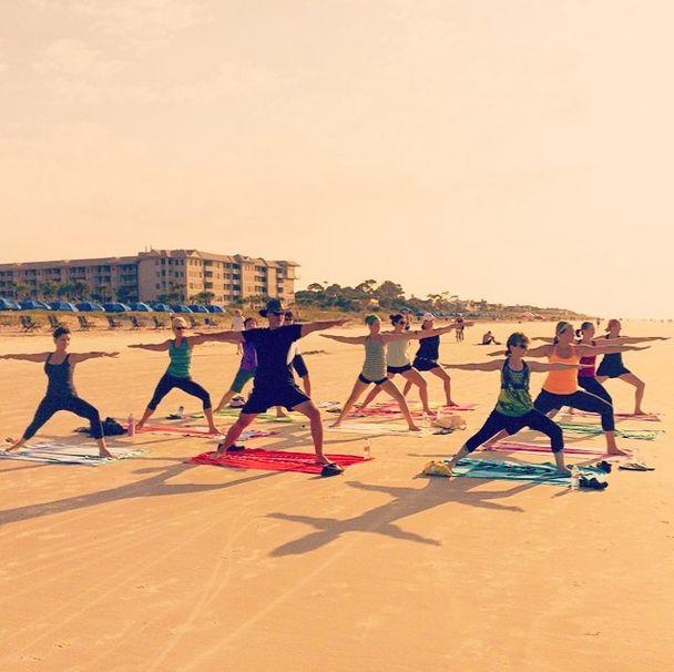 Yoga on Coligny Beach in Hilton Head Island.