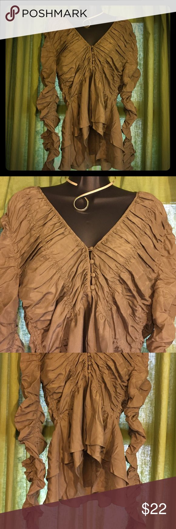 ARDEN B LUXE Silk Bohemian Blouse-Size Small 100% Silk olive green Boho blouse with touching throughout. Retails at $98 Arden B Tops Blouses
