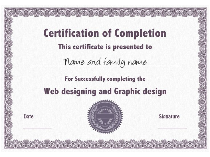 20 best Certificate Templates images on Pinterest Certificate - completion certificate format