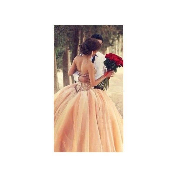 Ball Gown Sweetheart Appliques Cathedral Wedding Dress via Polyvore featuring dresses and wedding dresses