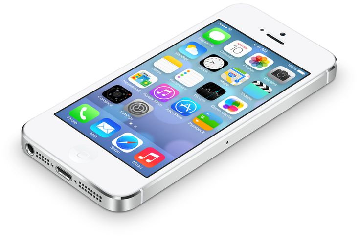 White iPhone 5 lying down, iOS7 on screen, from apple.com.