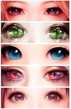 manga eyes, i wish my eyes were like this!! Especially the blue one and the cat like ones!!