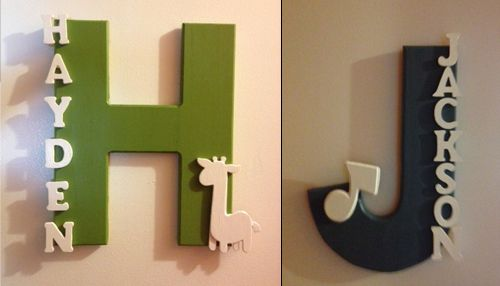 Love this!! Painted wood name signs for the kids doors - Simple to make and hang.