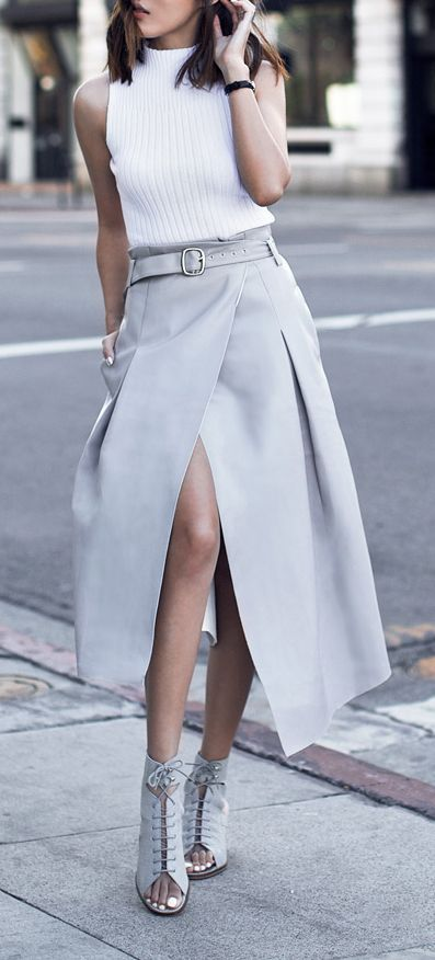 Women's fashion | White top, grey skirt and heels