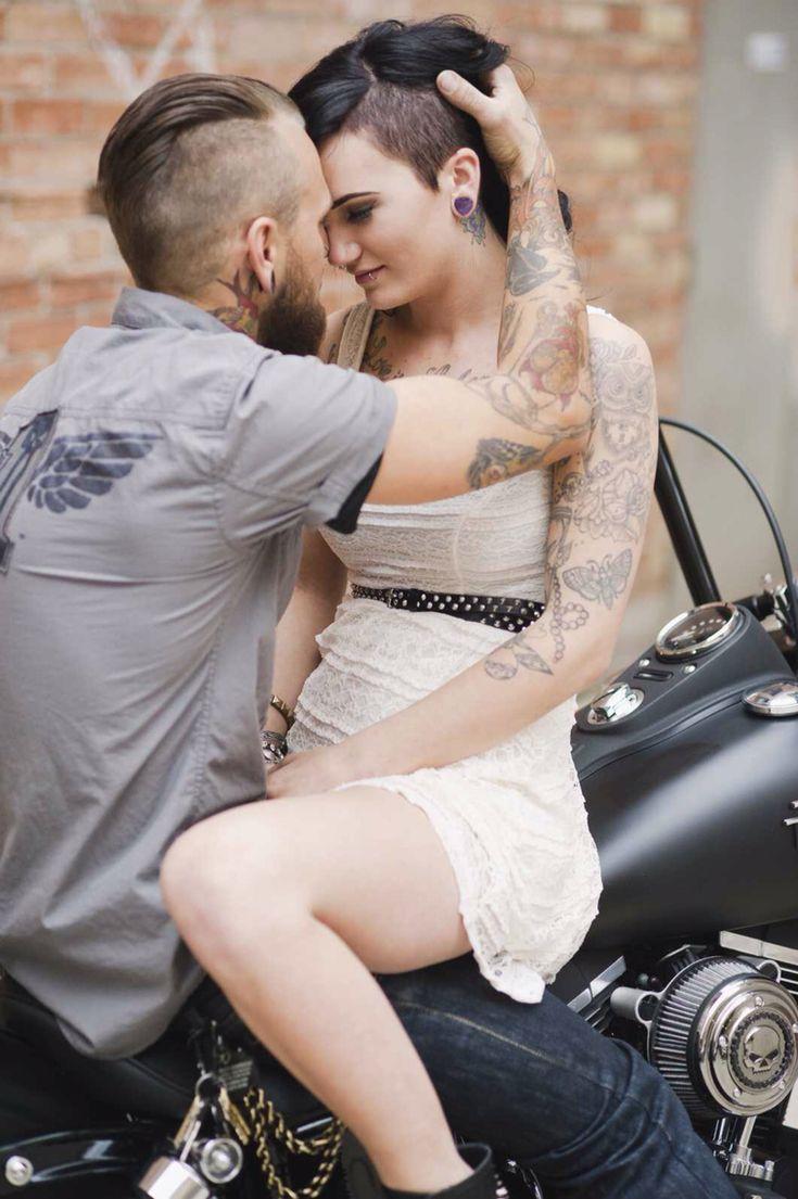 Photo by Amy Cloud Photography, Salt Lake City Utah. Engagements. Wedding. Harley Davidson. Motorcycles. Tattooed couple. Tattoos. Converse.