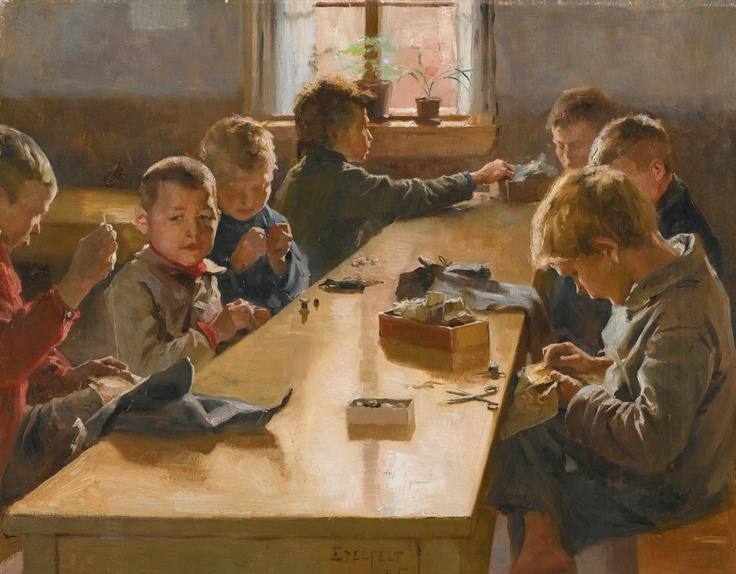 Albert Edelfelt (Finnish, 1854-1905) The Boy's Workhouse, Helsinki 17.25 X 21.75 in. oil on canvas