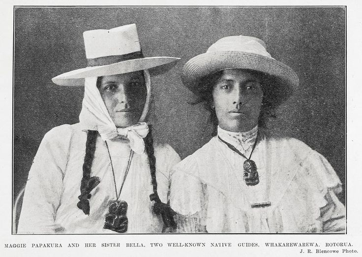 MAGGIE PAPAKURA AND HER SISTER BELLA, TWO WELL-KNOWN NATIVE GUIDES, WHAKAREWAREWA, ROTORUA. From Auckland Weekly News, 28 July 1904