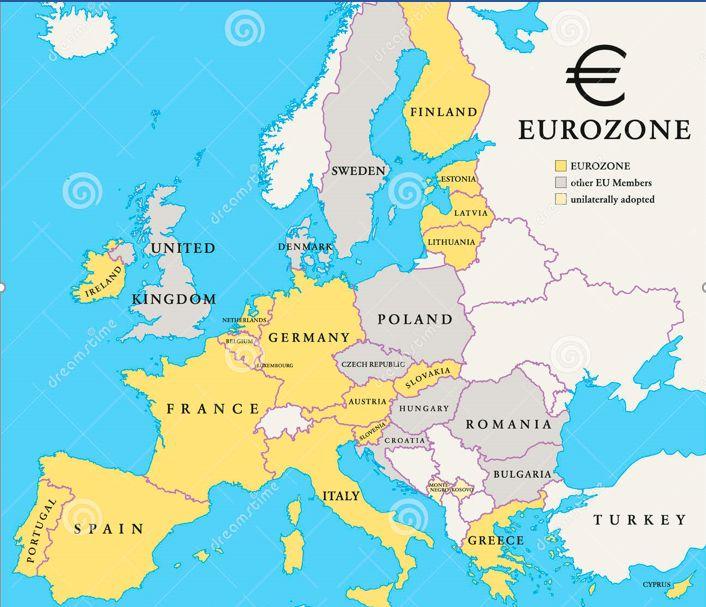 """No todos los países de la Unión Europea (EU) se acogieron a la moneda única """"Euro"""", algunos mantuvieron su moneda, estos son: Reino Unido Dinamarca, Suecia, Hungría, Croacia, República Checa y Rumanía."""