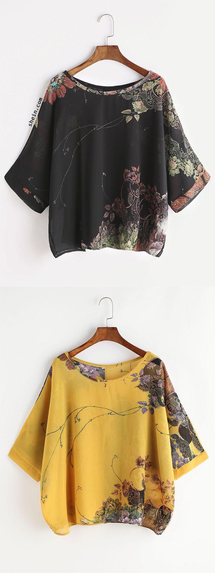 Florals Button Back Chiffon Blouse