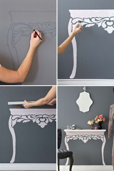 Turn An Ordinary Floating Shelf to Elegant Antique-style Table.
