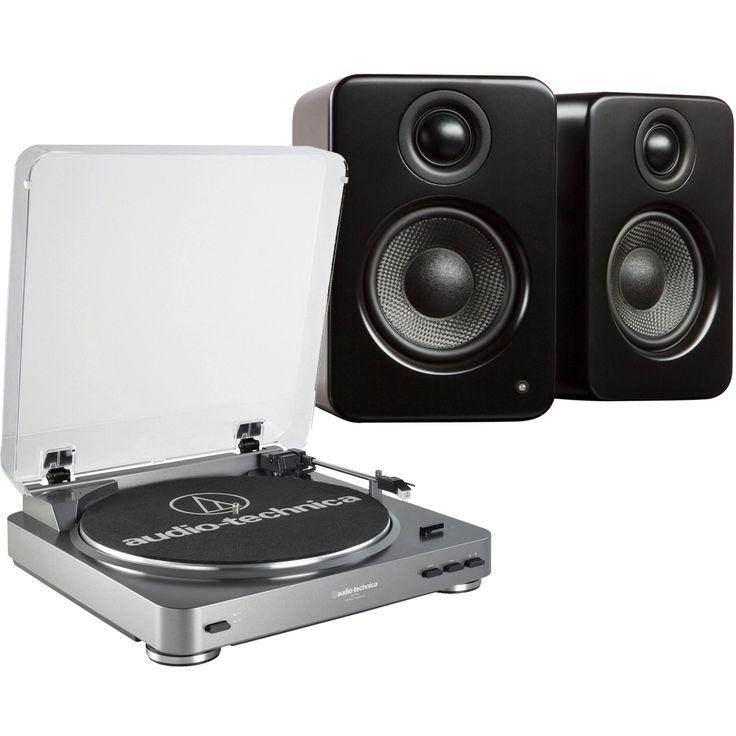 Audio-Technica - Audio-Technica Stereo Turntable & Kanto 2-Way Powered Desktop Speaker Pair