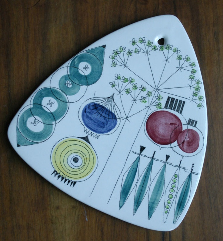 Rorstrand PICKNICK Vintage Porcelain Cutting Cheese Board Hanging Trivet