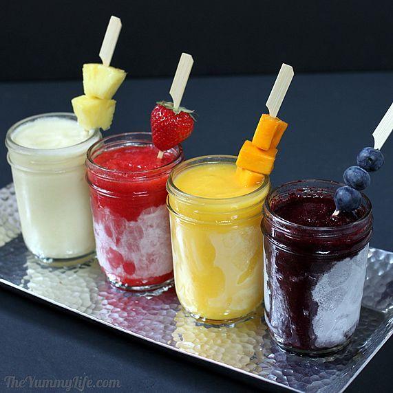 Make-Ahead Frozen Fruit Daiquiris: Fruit Daiquiri, Frozen Fruit, Make Ahead, Fruit Drinks, Frozen Drinks, Margaritas Recipe, Makeahead, Mason Jars, Mixed Drinks