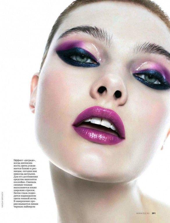Dramatic purple eyes and lips // Shot by Nikolay Biryukov for Elle Russia