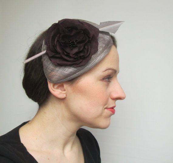 Rennen-Hut Womens Hut grau Knochenvogel Hut von LillibetsMillinery