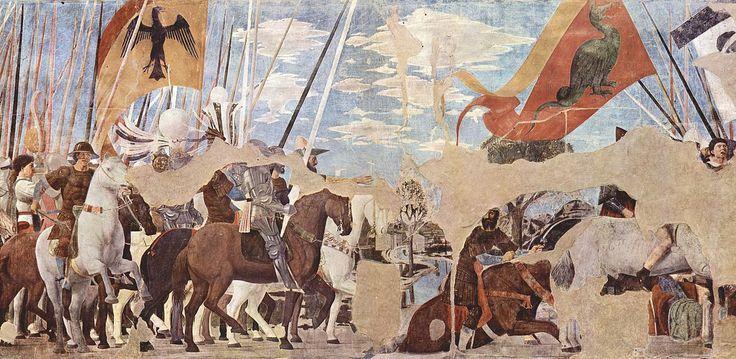 """PIERO DELLA FRANCESCA: """"Victoria de Constantino en la Batalla de Puente Milvio"""", frescos de la capilla Bacci de Arezzo."""