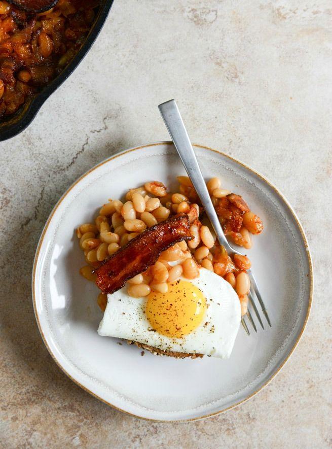 Skillet Baked White Beans. (on toast!) I howsweeteats.com