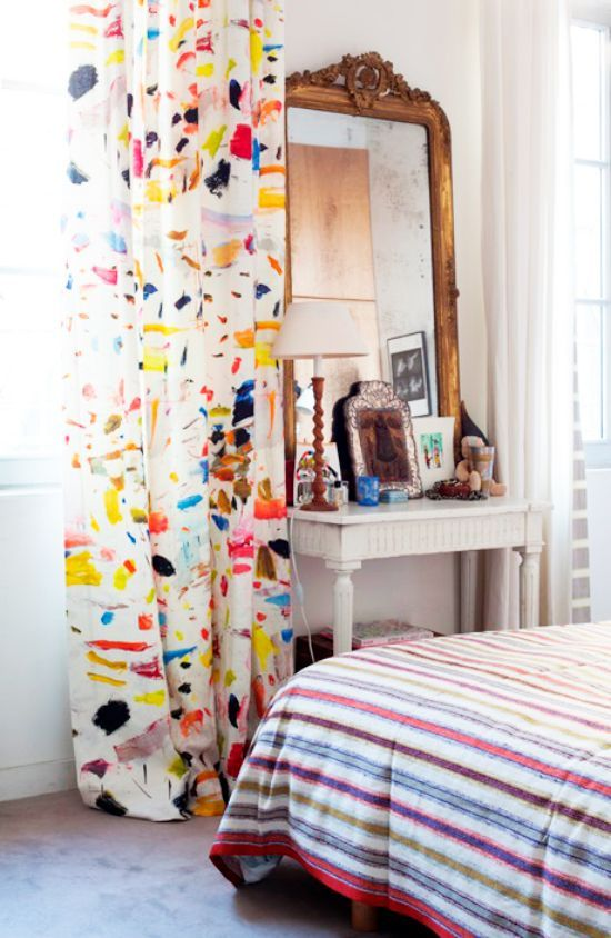 Brushstroke decor trend, Arty Linen fabric by Pierre Frey in an eclectic bedroom on Thou Swell @Kevin O'Gara | Thou Swell
