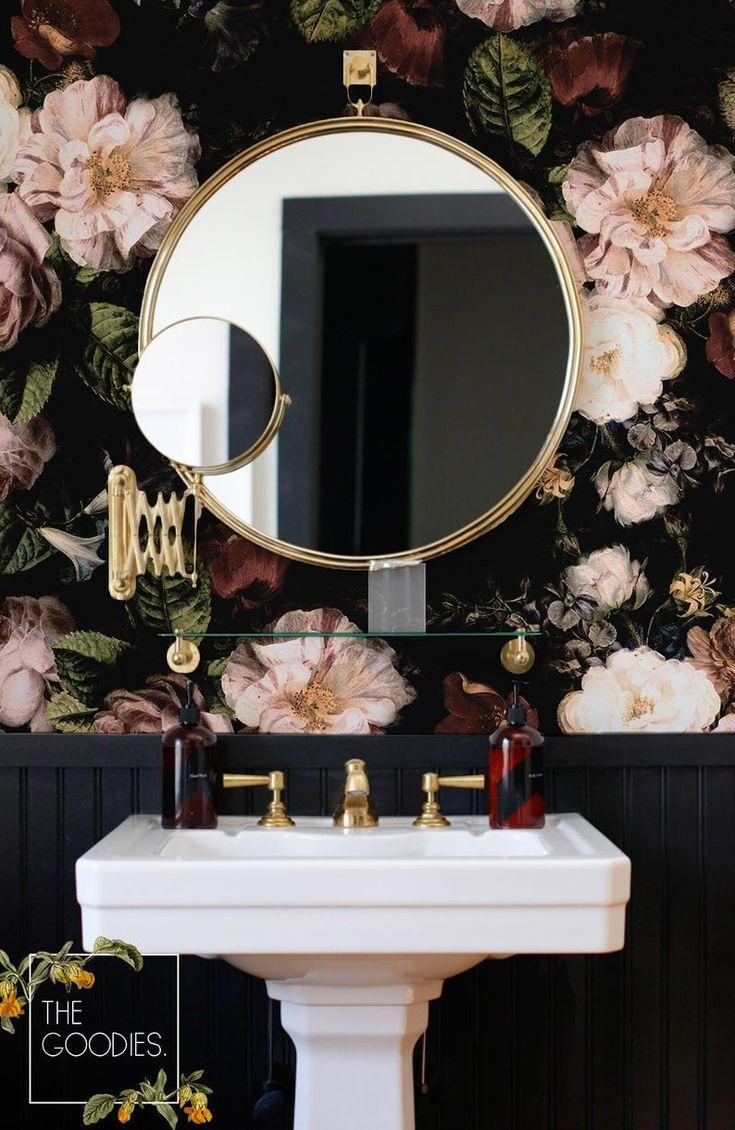 Dark blossom wallpaper, Large floral print, Vintage floral