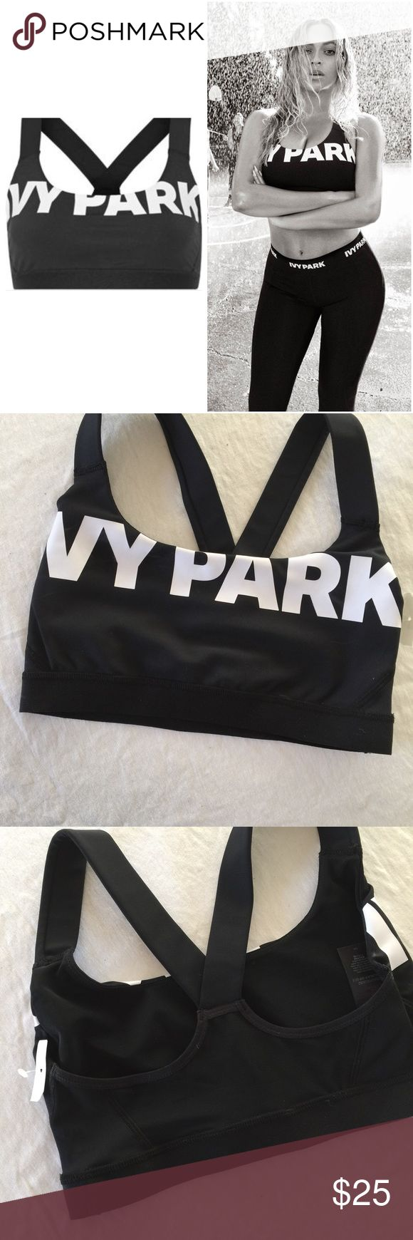 Ivy park, logo V, black mesh insert bra, small Ivy park, black, mesh, logo v insert sports bra, nwot, size small. check out my other ivy pak items, in my closet. 🚫no trades. This bra top comes designed with a sheer mesh panel to the back for ventilation, while a power mesh lining and flat-locked contour seam provide a supportive and streamlined shape. Crafted for performance, the technical make ensures a quick drying and durable finish. Finished with a statement Ivy Park logo to the chest…
