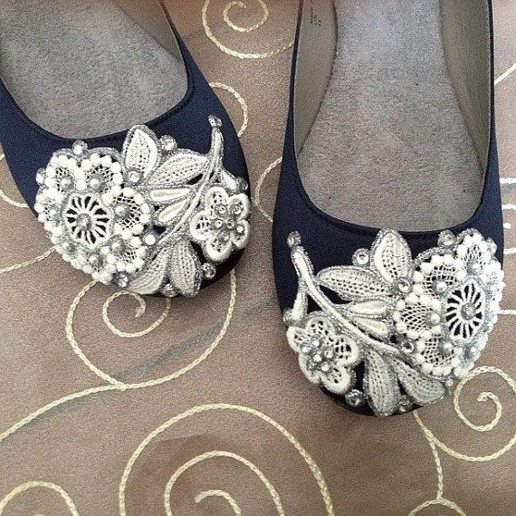 French Knot Lace Bridal Ballet Flats Wedding by BeholdenBridal  I know you wanted flats...it could also be a something blue...