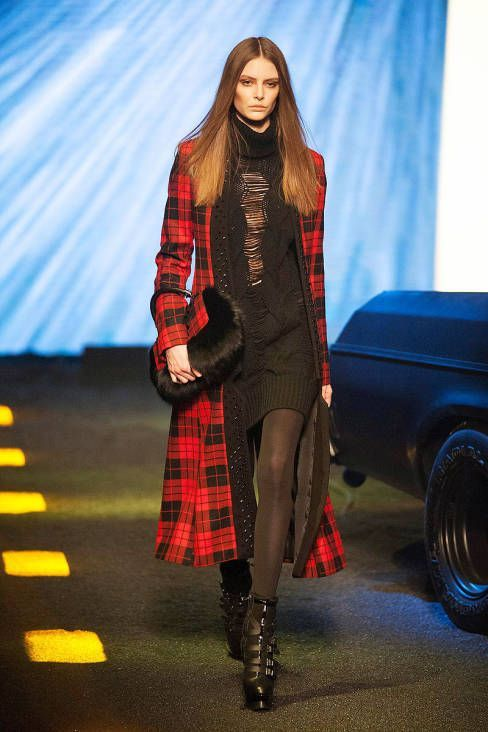 This coat from Philipp Plein , very nice color, red and black, and this coat over the neck , so fashionable