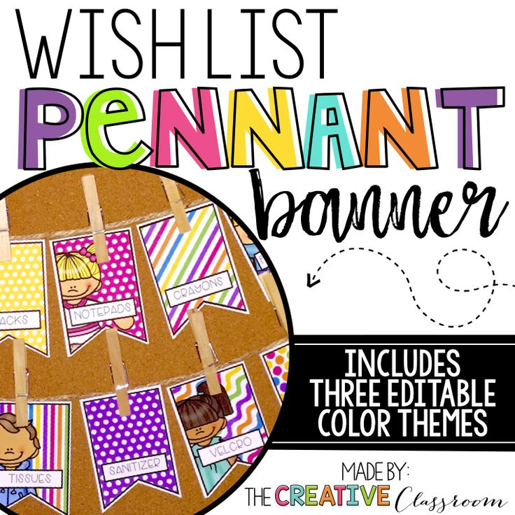 Editable Classroom Wish List pennant banner perfect for your back to school needs. Be organized and prepared for Meet the Teacher or Open House Nights with this display and bulletin board idea.