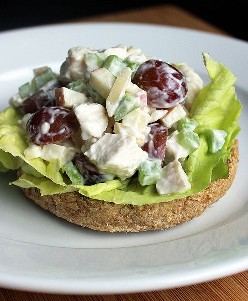 Traditional chicken salad clocks in at 500 calories, but this healthy chicken salad is 139 calories a serving. The secret? A simple swap of Greek yogurt for mayo. Serve with one or two slices of bread (like wheat bread, 220 calories for two slices). Calories (with two slices of wheat bread): 359