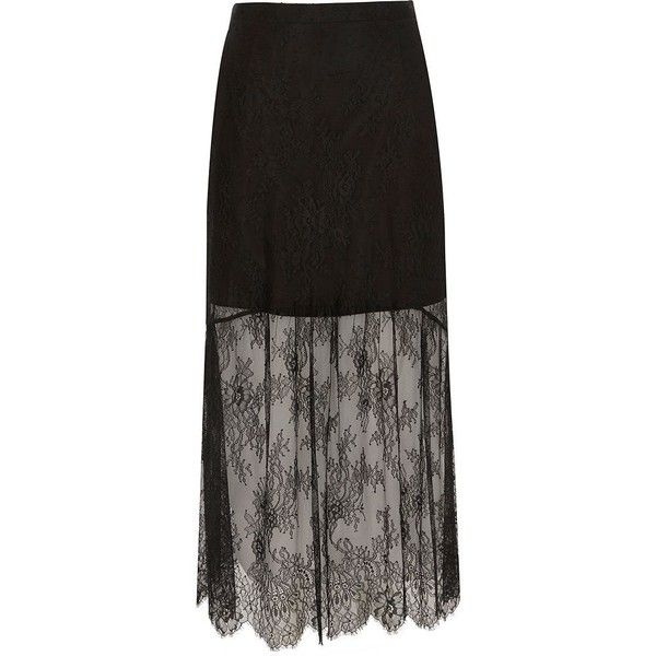 River Island Petite black lace maxi skirt (£15) ❤ liked on Polyvore featuring skirts, black, maxi skirts, women, lace maxi skirt, petite maxi skirt, layered maxi skirt, layered lace skirt and floor length maxi skirt