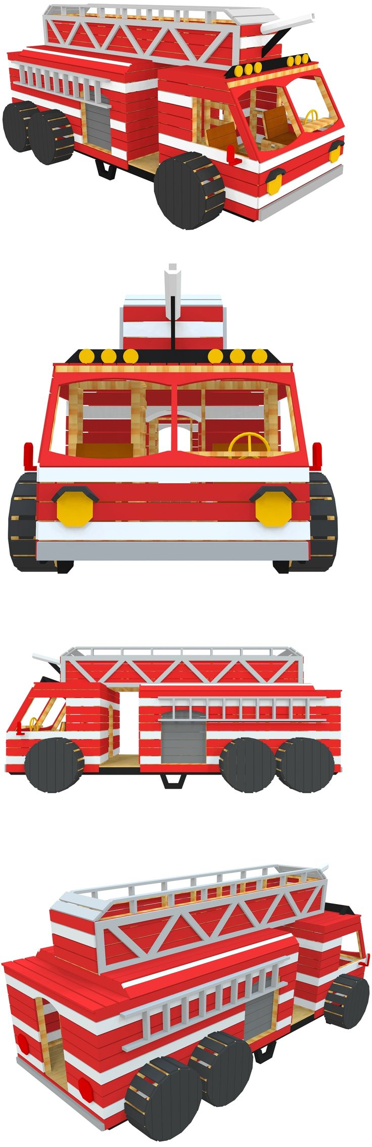 The firetruck playhouse plan, found on paulsplayhouses.com