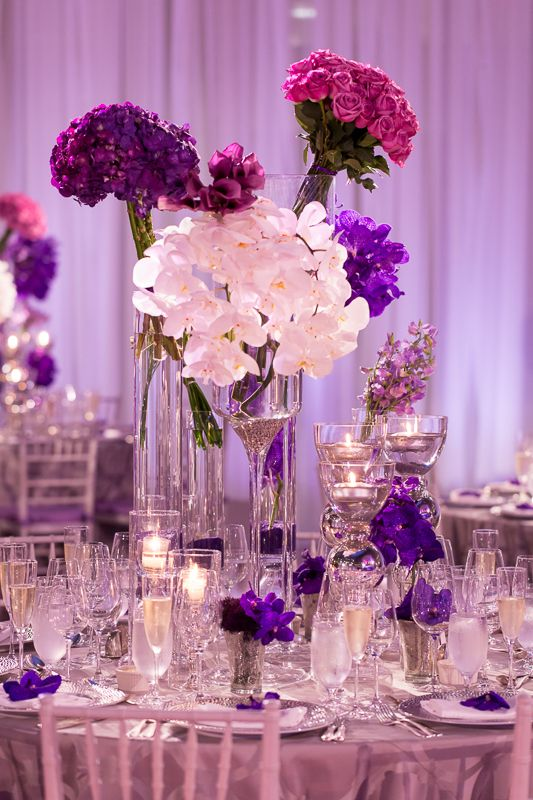 Purple And Silver Centerpieces From Courtney Our Splurges Were For T He Band Photographer Wedding Tall Pinterest