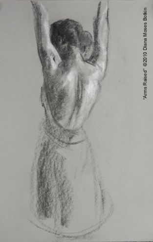 """Dressed Figure Gesture Drawing """"Arms Raised"""" Charcoal and Chalk Life Sketch ©2010 Diana Moses Botkin"""