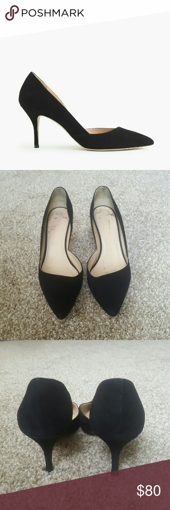 """J. Crew Colette Suede D'Orsay Pumps Good condition. Soles have been protected with an added layer, so they last longer. The heel area is stretched out, so this may fit someone with wide feet better. I am a true 8.5, and the shoe kept slipping off my foot as I walked. The suede is in great condition. This is a re-Posh.  A new take on an always-classic mid heel. We gave her a French name because the open d'Orsay shape makes her tres cool.  3 1/8"""" heel. Suede upper. Leather lining. Made in…"""