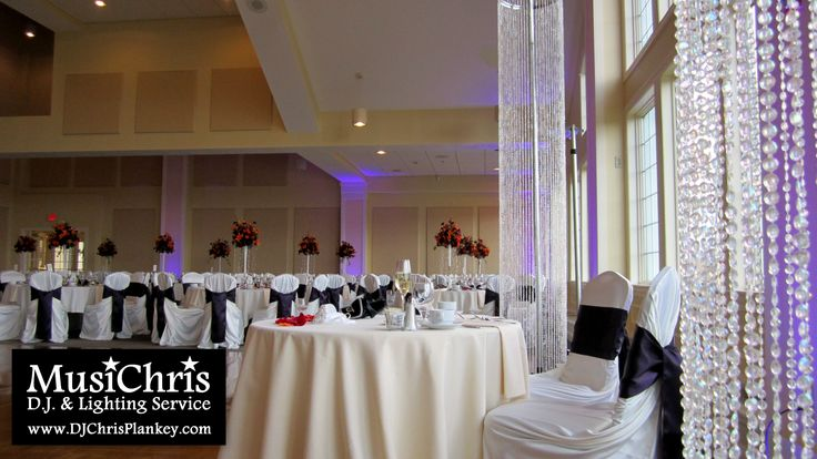 Purple Uplighting And Crystal Columns At The Berkshire Hills Country Club By Musichris Dj Lighting