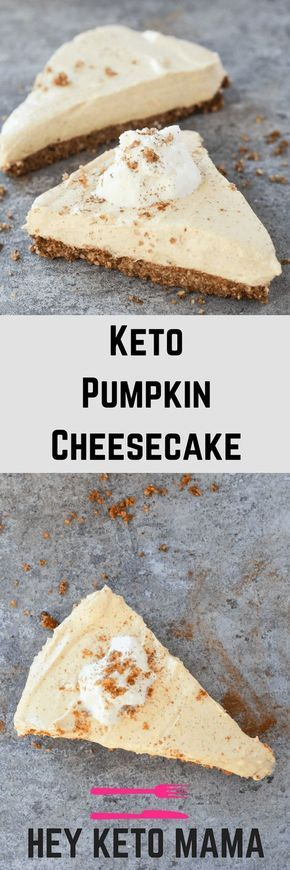 Keto Pumpkin Cheesecake is always the answer, no matter the question. Check out this easy recipe to make a Fall favorite low carb style! | heyketomama.com