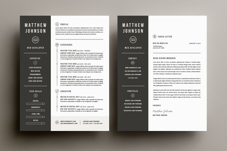 Stand out from the sea of applicants and get the interview with these bold resume and cover letter template designs. **Features** - Includes 300dpi CMYK templates in Illustrator AI,