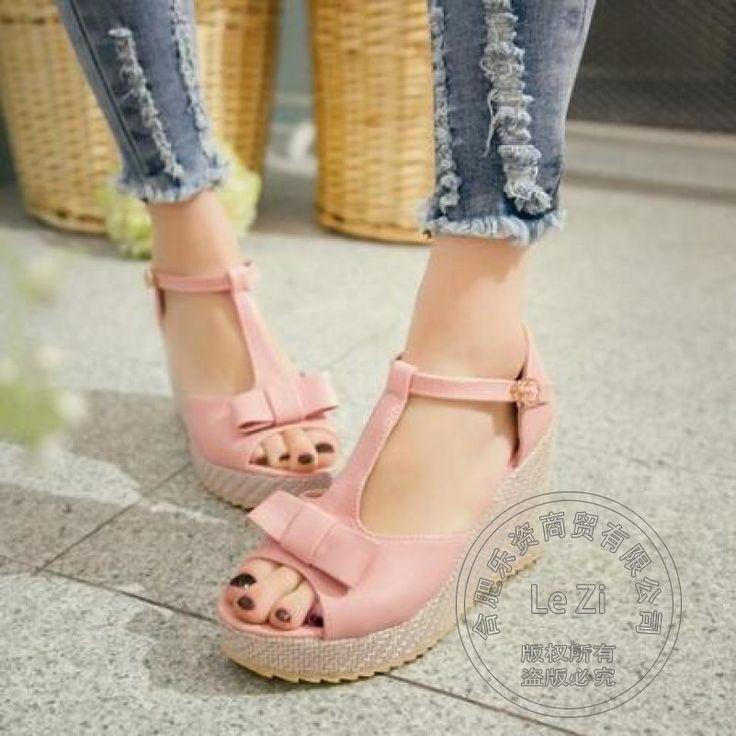 Pu Täglich Flatform Nette Keil Teenager Mädchen Kleine Frische Verschluss Weichem Leder Einfachen Roten Hohe Schuhe Süße Pu Lolita //Price: $US $36.27 & FREE Shipping //     #abendkleider