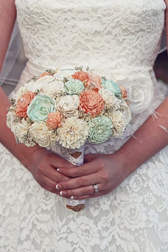 Wedding, Sola Bouquet, Burlap Peach  Mint Bouquet, Alternative Bouquet, Peach Bouquet, Sola flowers, Wood Bouquet