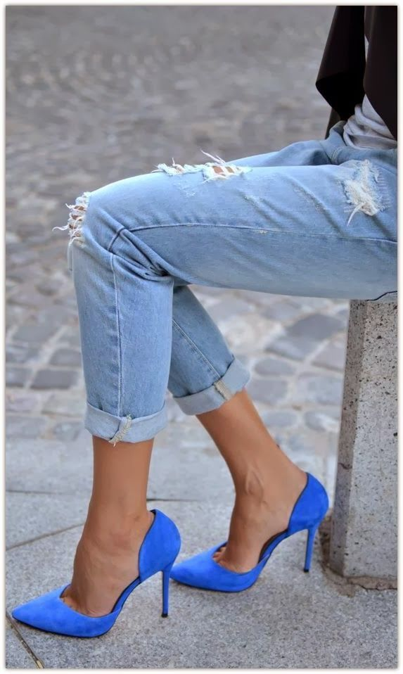 Blue suede heels.  || Stiloguard - Best High Heel Protectors, Prevents Heels from Sinking into Grass