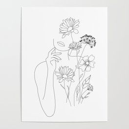 Minimal Line Art Woman with Flowers III Poster – Anna Schraml