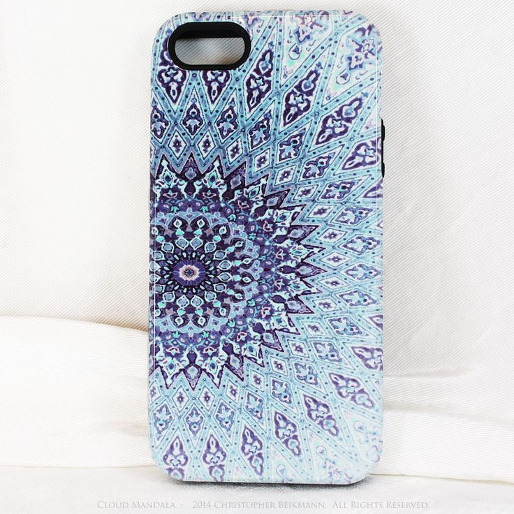 Cloud Mandala iPhone 5 5s case - Blue Zen Buddhist Abstract Art iPhone 5 5s Tough Case