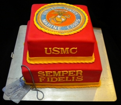 Marine Corps Grooms Cake By Niliquely on CakeCentral.com